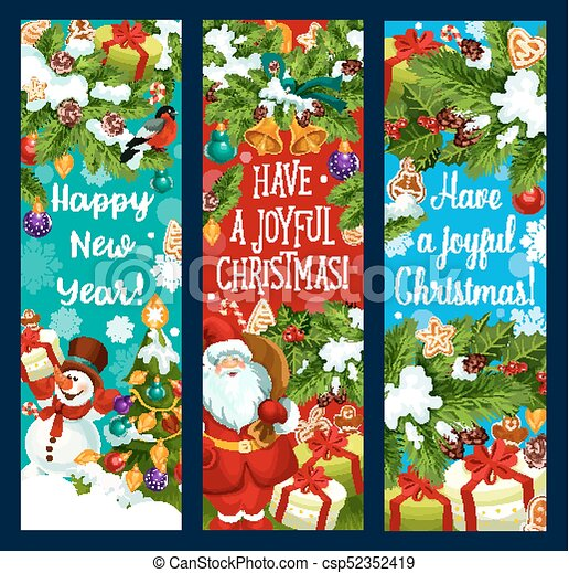 Merry Christmas New Year vector greeting banners - csp52352419