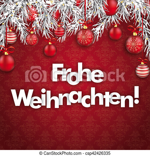 merry christmas ornaments baubles twigs frohe weihnachten csp42426335
