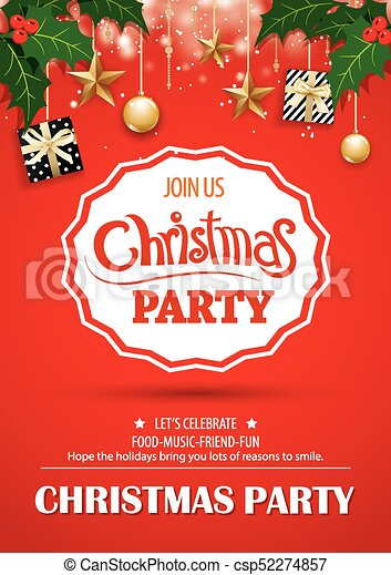 Merry Christmas Party And Gift Box On Red Background Invitation Theme Concept Happy Holiday Greeting Banner And Card Design Template