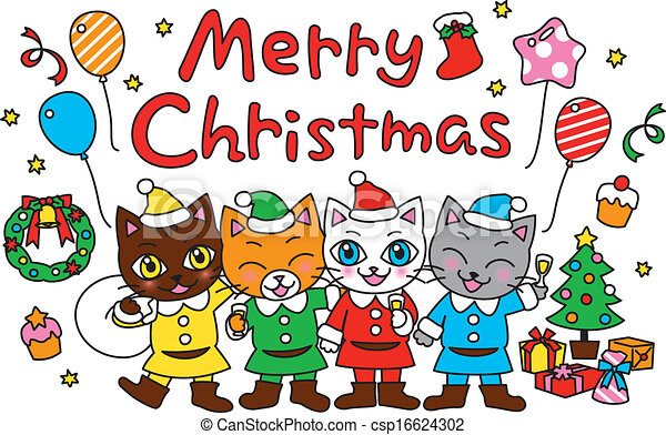 Christmas Party Pictures Clip Art.Merry Christmas Party Cats