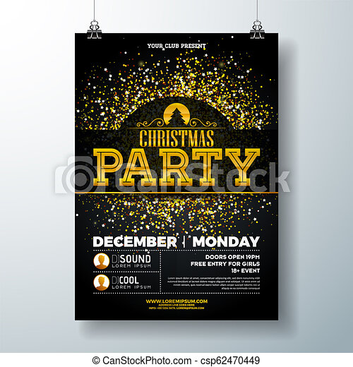 Christmas Party Poster.Merry Christmas Party Poster Design Template With Gold Glitter And Holiday Typography Elements On Black Background Vector Holiday Celebration Plyer