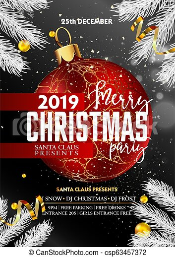 Christmas Party 2019 Clipart.Merry Christmas Party Promotional Poster With Decorative Ball