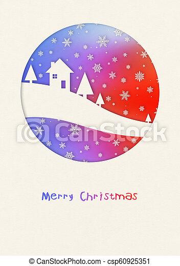 Merry Christmas rainbow winter card - csp60925351