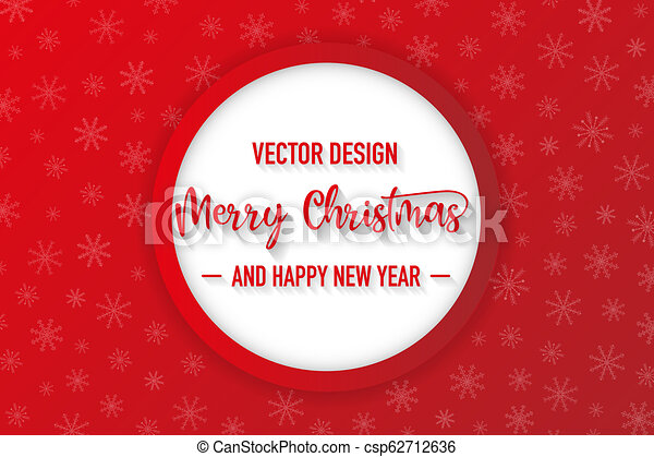 Merry christmas red background with snowflake, vector - csp62712636