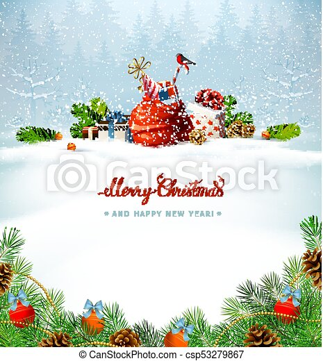 Merry Christmas red calligraphy inscription. Festive symbols on the Holiday background. - csp53279867