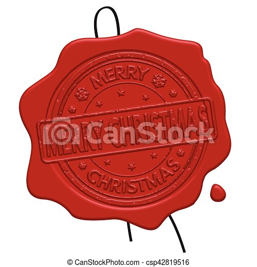Merry Christmas red wax seal - csp42819516