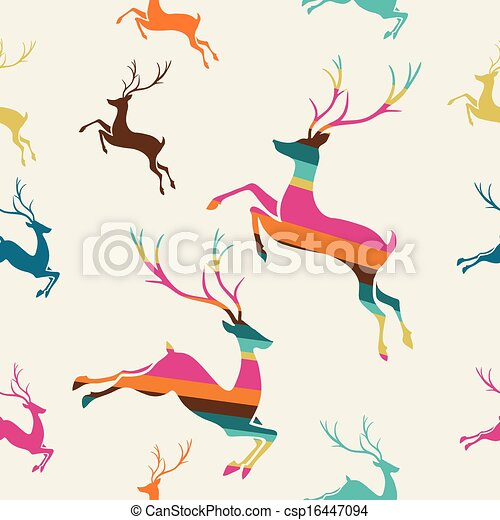 Merry Christmas reindeer stripes seamless pattern vector. - csp16447094