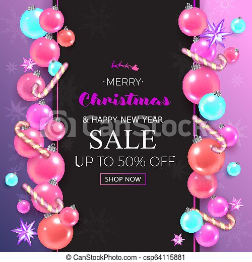 merry christmas sale banner with christmas pink bubbles and stars on pink background vector illustration template greeting can stock photo
