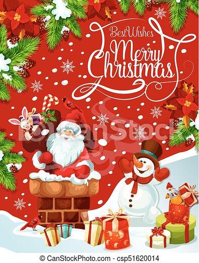 Christmas Wishes Card.Merry Christmas Santa Gifts Tree Vector Greeting