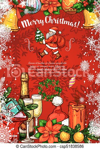 Merry Christmas Wishes Greeting Cards.Merry Christmas Santa Sketch Vector Greeting Card