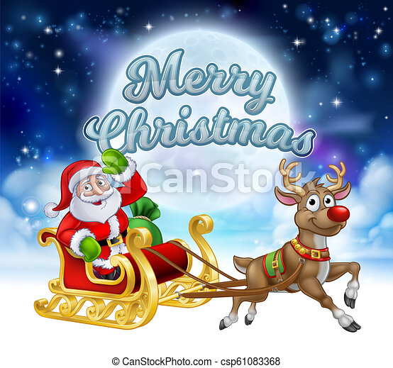 merry christmas santa sleigh cartoon graphic cartoon santa claus in his sleigh pulled by reindeer with winter moon canstock https www canstockphoto com merry christmas santa sleigh cartoon 61083368 html