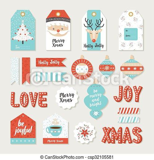 Merry Christmas Set Scrapbook Diy Printable Tags Merry Christmas
