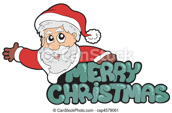 Merry christmas sign with santa vector illustration vector clip