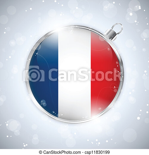 Merry Christmas Silver Ball with Flag France - csp11830199
