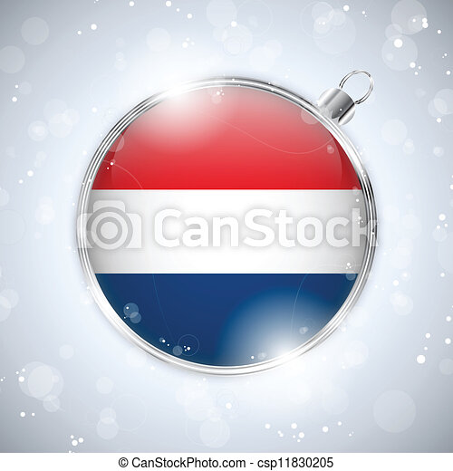 Merry Christmas Silver Ball with Flag Netherlands - csp11830205