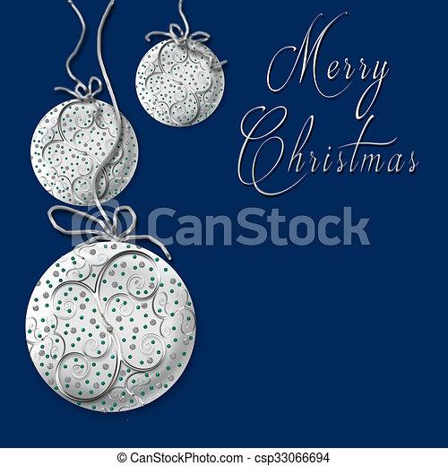 Navy Christmas Ornaments.Merry Christmas Silver Ornaments
