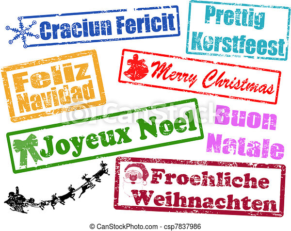 merry christmas stamps csp7837986