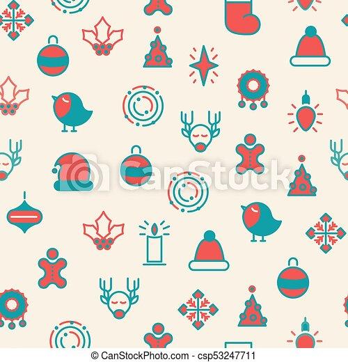 Merry Christmas Symbols Seamless Pattern Happy Christmas Symbols