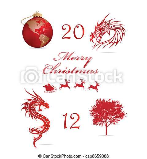 Merry Christmas Symbols Set Red Color Isolated