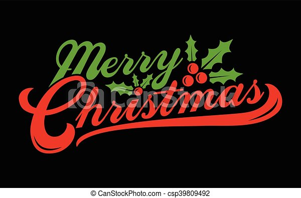 Merry Christmas text font graphic - csp39809492