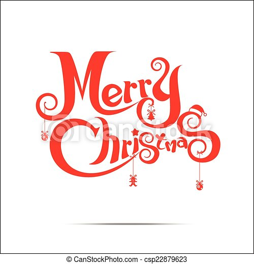 Merry Christmas text free hand design on white background - csp22879623