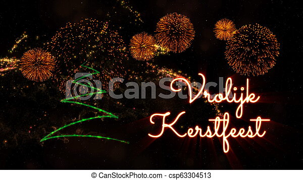 Merry Christmas In Dutch.Merry Christmas Text In Dutch Vrolijk Kerstfeest Over Pine Tree And Fireworks