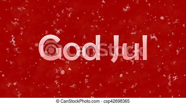 Merry Christmas In Norwegian.Merry Christmas Text In Norwegian God Jul On Red Background