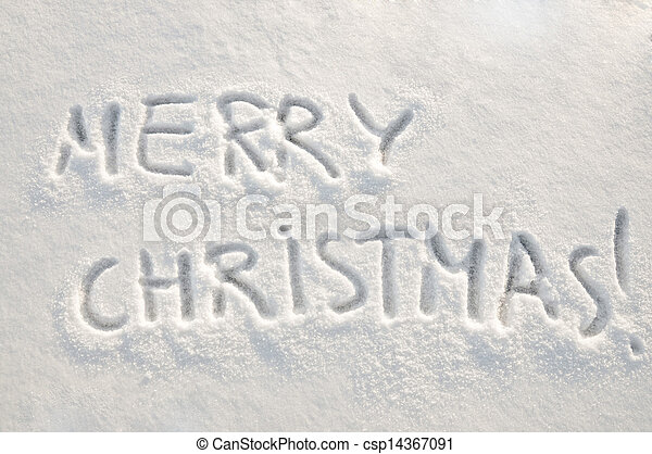 Merry christmas text on snow. Written words merry christmas on a ...