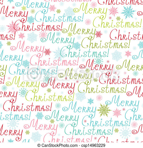 Merry Christmas Text Seamless Pattern Background - csp14963229