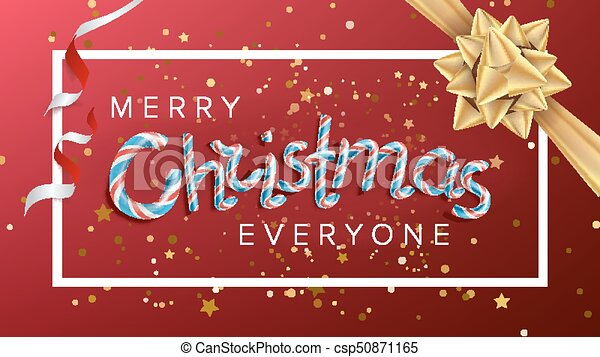 Merry Christmas Text Vector. Realistic Bow. Christmas Greeting Card. Modern New Year Poster, Brochure, Flyer Template Design. Holiday Illustration - csp50871165