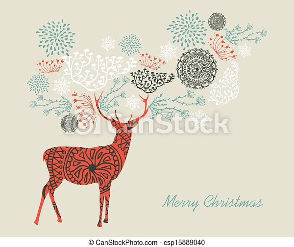 Merry Christmas text vintage reindeer composition EPS10 file. - csp15889040