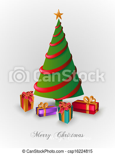 Merry Christmas Tree With Presents EPS10 File