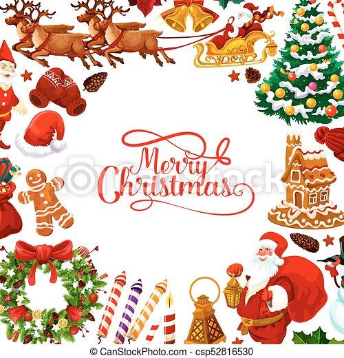 Merry Christmas vector greeting card - csp52816530