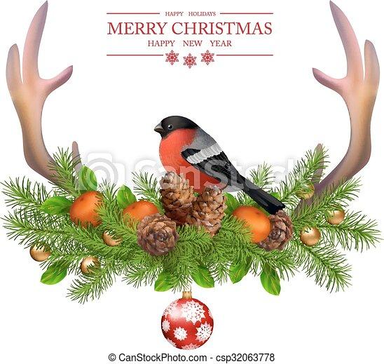 Merry Christmas vector greeting card - csp32063778