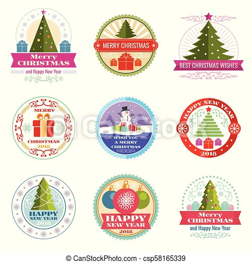 Christmas Vectors.Merry Christmas Vector Labels Winter Holiday Retro Emblems And Logos