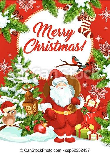 Merry Christmas vector Santa gifts greeting card - csp52352437