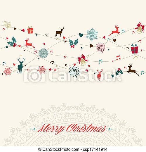 merry christmas vintage garland card csp17141914