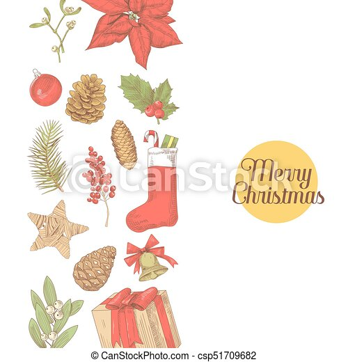 Christmas Illustrations Vintage.Merry Christmas Vintage Greeting Card New Year Hand Drawn Decoration Winter Holidays Sketch Background Vector Illustration
