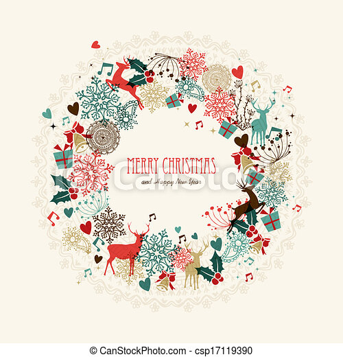 merry christmas vintage wreath card csp17119390