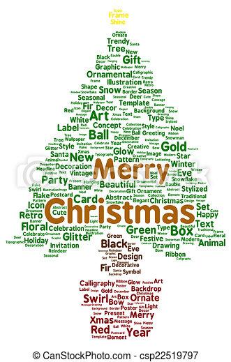 Merry Christmas Word Cloud Shape Concept Stock Illustration