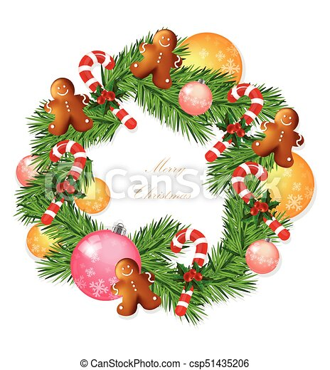 Merry Christmas Wreath With Baubles Vector Winter Holidays Card