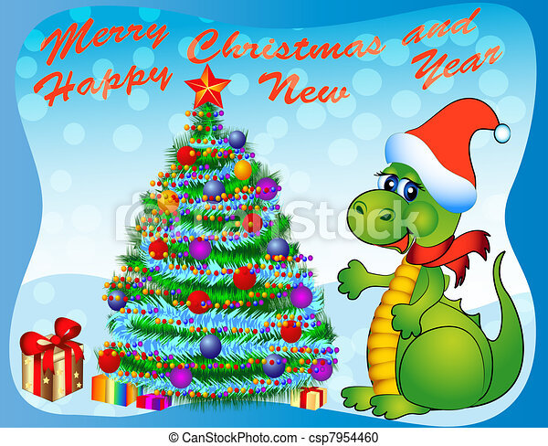 merry dragon with fir tree and gift - csp7954460