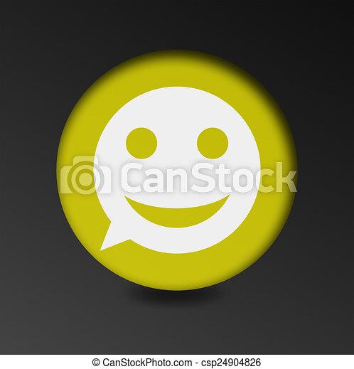 merry face sign icon. Round button speech bubble. - csp24904826