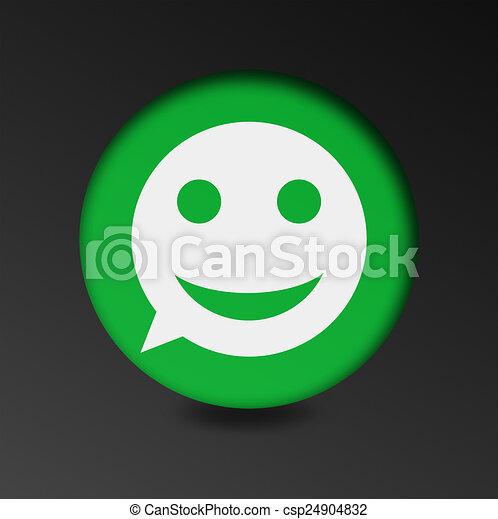 merry face sign icon. Round button speech bubble. - csp24904832