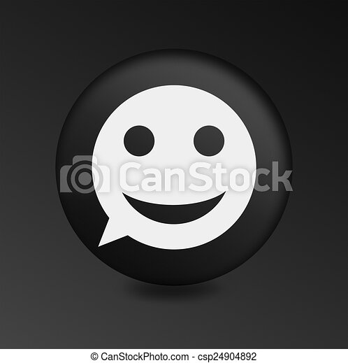 merry face sign icon. Round button speech bubble. - csp24904892