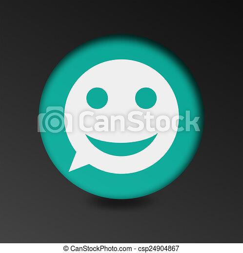 merry face sign icon. Round button speech bubble. - csp24904867