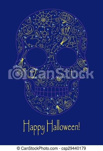 Merry Halloween skull - csp29440179
