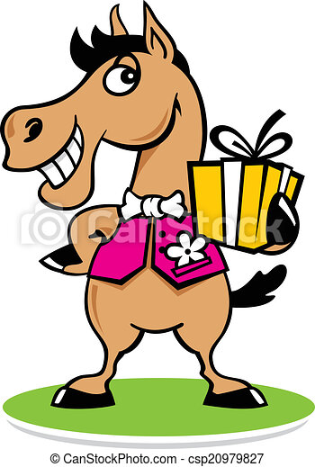 Merry horse with a gift logo - csp20979827