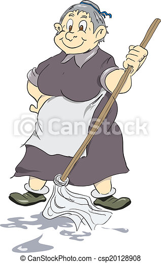 merry old cleaning lady merry old charwoman with mop vector rh canstockphoto com cleaning lady clipart free cleaning lady clip art free