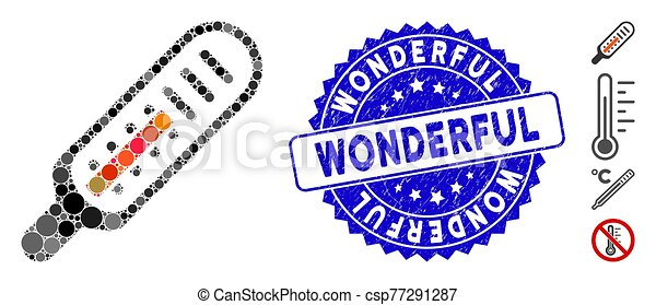 merveilleux, grunge, thermomètre, timbre, mosaïque, icône - csp77291287